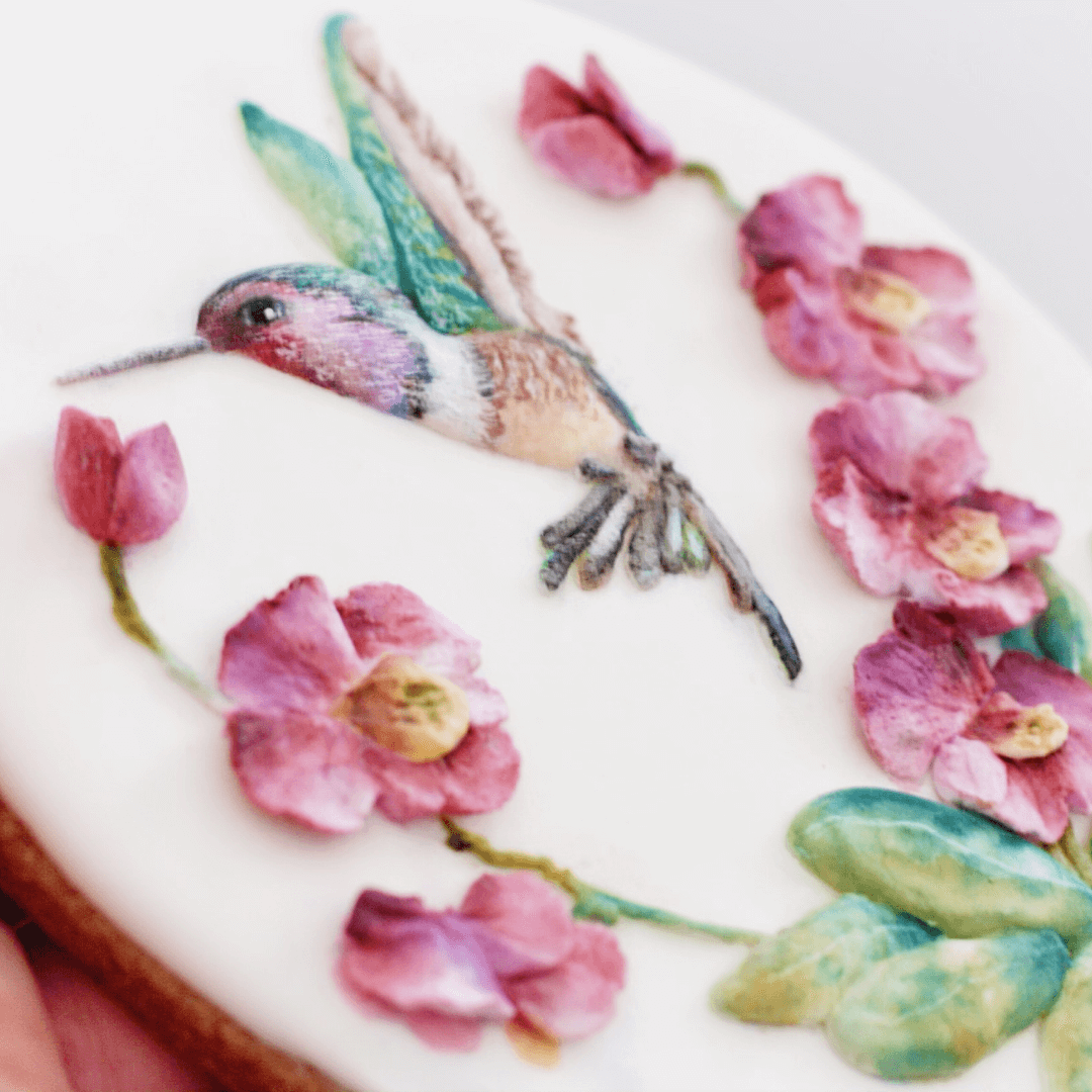 ORCHIDS AND HUMMINGBIRDS-ONLINE COOKIEDECORATING CLASS1