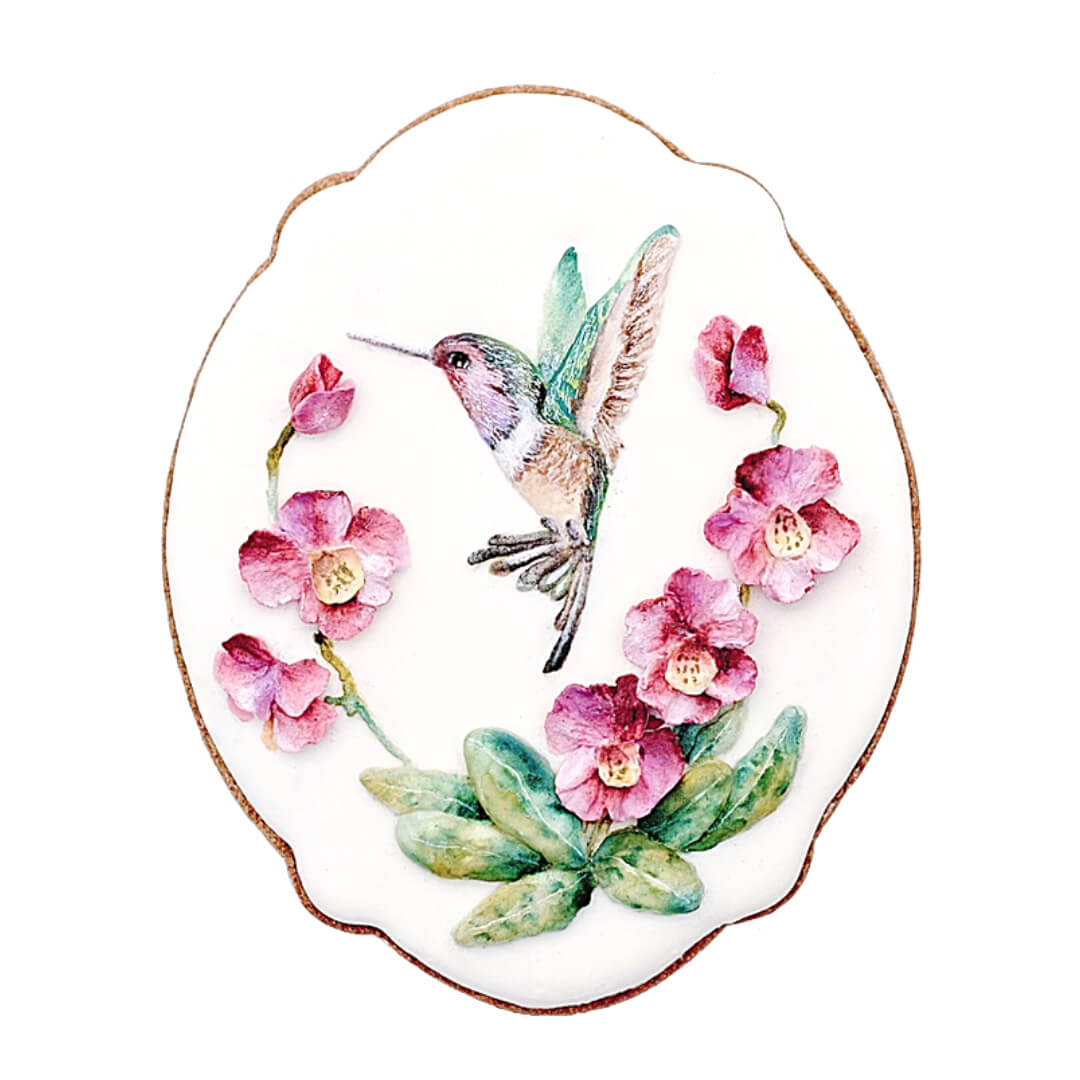 ORCHIDS AND HUMMINGBIRDS-ONLINE COOKIEDECORATING CLASS